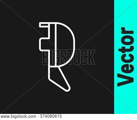 White Line Fencing Helmet Mask Icon Isolated On Black Background. Traditional Sport Defense. Vector
