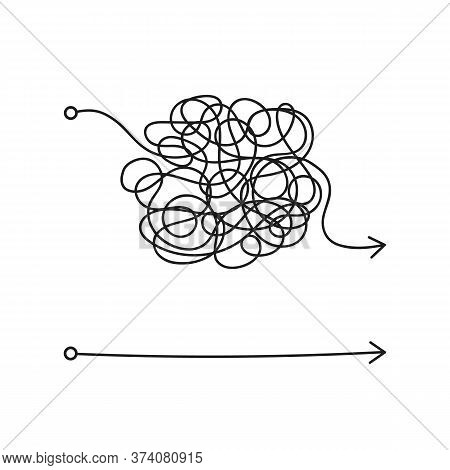 Messy Line Like Hard And Easy Way. Flat Linear Trend Modern Art Graphic Random Quiz Design Ball Elem