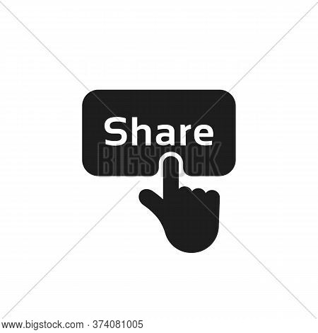 Hand Press On Black Share Button. Flat Simple Style Modern Repost Logotype Graphic Design Element Is