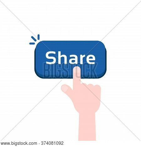Cartoon Hand Press On Share Button. Flat Simple Modern Repost Now Logotype Graphic Design Element Is