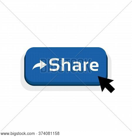 Blue Cartoon Share Button Icon. Concept Of Show Viral Or Interesting Content To Friends Or Other Use