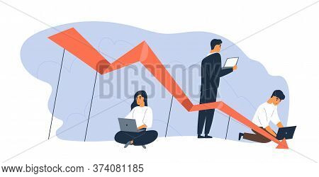 Business People Use Laptop With Arrow Point Downwards Vector Flat Illustration. Global Financial Cri