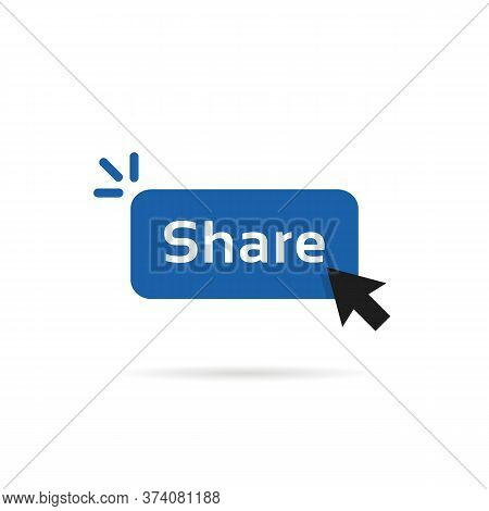 Share Blue Button With Cursor Arrow. Simple Flat Modern Repost Now Logotype Graphic Design Element I