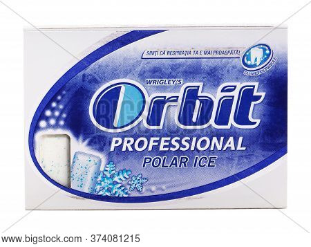Bucharest, Romania - April 4, 2016. Orbit Polar Ice Chewing Gum Pack Isolated On White, Produced By