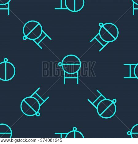 Green Line Barbecue Grill Icon Isolated Seamless Pattern On Blue Background. Bbq Grill Party. Vector