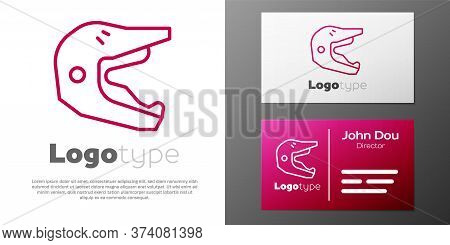 Logotype Line Motocross Motorcycle Helmet Icon Isolated On White Background. Logo Design Template El