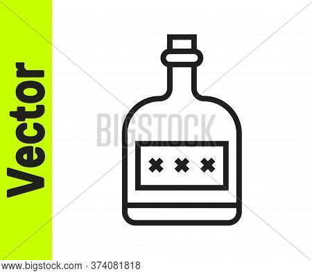 Black Line Alcohol Drink Rum Bottle Icon Isolated On White Background. Vector Illustration