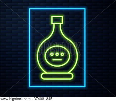 Glowing Neon Line Bottle Of Cognac Or Brandy Icon Isolated On Brick Wall Background. Vector Illustra