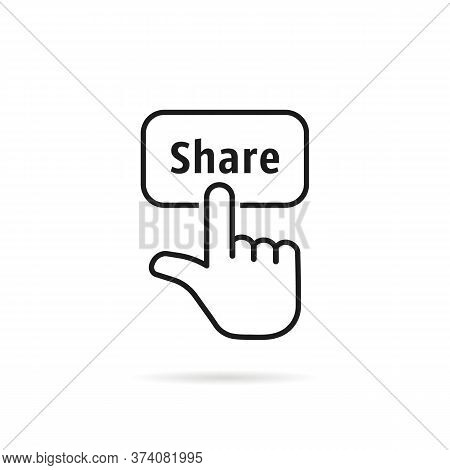 Simple Thin Line Black Hand Share. Flat Linear Trend Repost Logotype Graphic Design Isolated On Whit