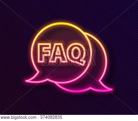 Glowing Neon Line Speech Bubble With Text Faq Information Icon Isolated On Black Background. Circle