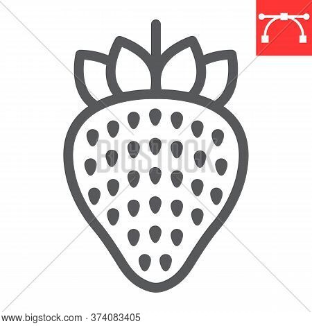 Strawberry Line Icon, Food And Keto Diet, Berry Sign Vector Graphics, Editable Stroke Linear Icon, E