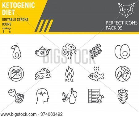 Keto Diet Line Icon Set, Ketogenic Symbols Collection, Vector Sketches, Logo Illustrations, Ketogeni