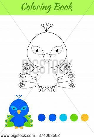 Coloring Page Happy Little Baby Peacock. Printable Coloring Book For Kids. Educational Activity For