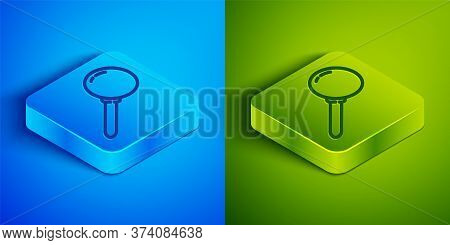 Isometric Line Push Pin Icon Isolated On Blue And Green Background. Thumbtacks Sign. Square Button.