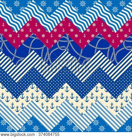 Patchwork Seamless Pattern In Marine Style. Art Seamless Background.