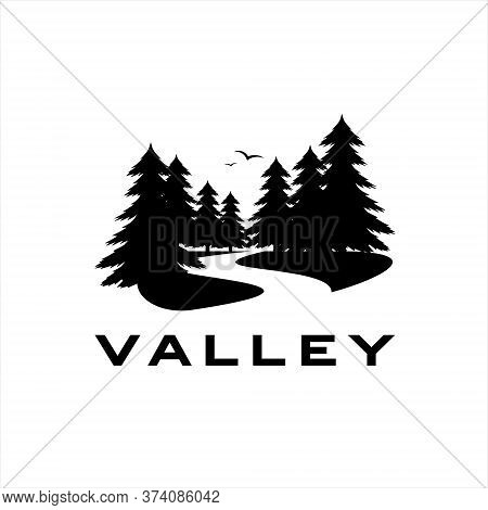 River Valley Logo With Pine Tree, Vector, Silhouette, Illustration For Landscape Graphic Design Or P