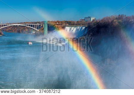 Beautiful View Of Niagara Falls And Rainbow, Canada