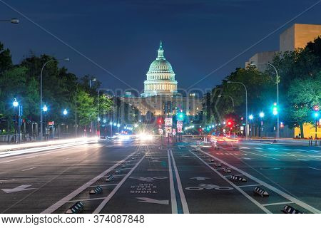 Washington Dc An Night. Night View Of Pennsylvania Avenue And Capitol Building, Washington D.c., Usa