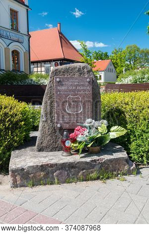 Pisz, Poland - June 1, 2020: Monument Commemorating Romuald Koziol.