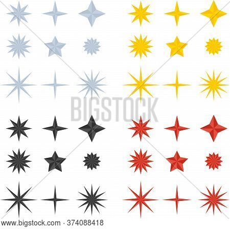 Flat Vector Firework Star For Festive Background. Objects Isolated On Dark Background.