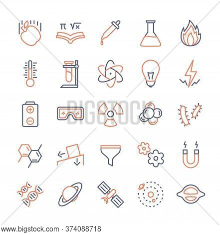 Science Icon Set Duo Tone Color Line Style Modern Flat Design Vector Illustration