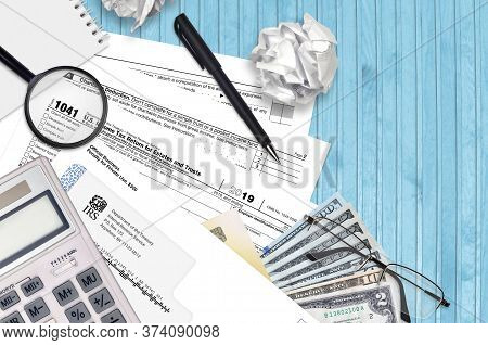 Irs Form 1041 Income Tax Return For Estates And Trusts Lies On Flat Lay Office Table And Ready To Fi
