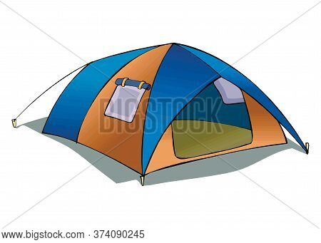 Tent Camping In Outdoor Travel. Vector Illustration For Nature Tourism, Journey, Adventure. Tent Ele