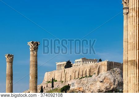 Acropolis In Athens, From Temple Of The Olympian Zeus In Athens, Greece.