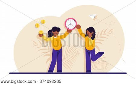 Concept Of Time Or Money, Work-life Balance. Woman Resolving Dilemma. Making Decision Or Choosing Be