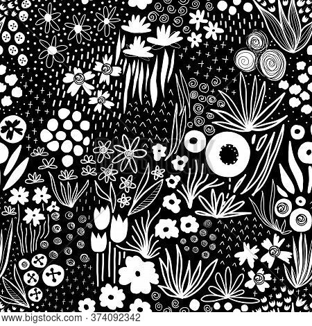 Repeating White Liberty Doodle Flower Meadow On Black Seamless Vector Background. Monochrome Flower