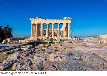 The Parthenon Temple In Acropolis Of Athens, Greece.