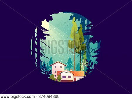 Wooden House In The Deep Forest, Foresters Hut, Vector Cartoon In A Round Shape, Mystical Light