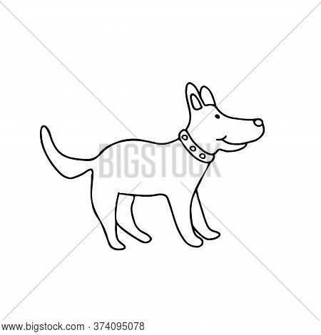 A Cute Friendly Dog In Doodle Style. Isolated Outline. Hand Drawn Vector Illustration In Black Ink O