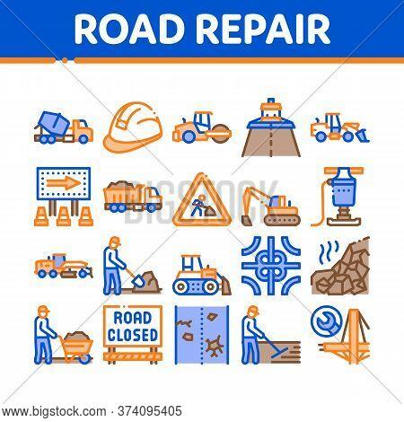 Road Repair And Construction Icons Set Vector. Road Repair And Maintenance Equipment, Builder Protec