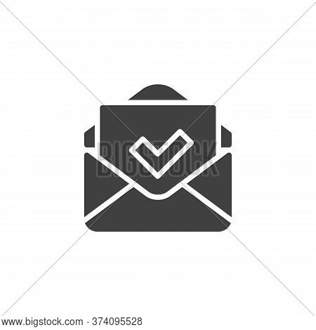 Received Mail Vector Icon. Envelope And Check Mark Filled Flat Sign For Mobile Concept And Web Desig
