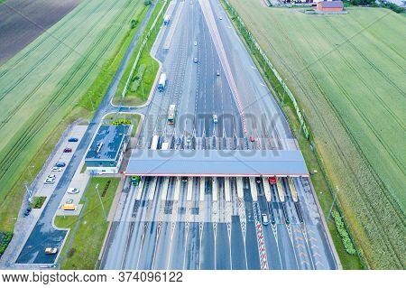 Aerial Drone View On Toll Collection Point On The Motorway. A2 Poland