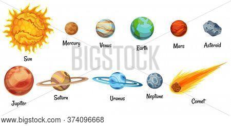 Cartoon solar system planets. Astronomical observatory small planet. Astronomy galaxy space. Sun Mercury Venus Earth Mars Jupiter Saturn Uranus Neptune Comet Asteroid