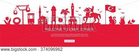 Welcome To Izmir, Turkey! Red City Silhouette With Famous Turkish Landmarks. City Skyline With Landm