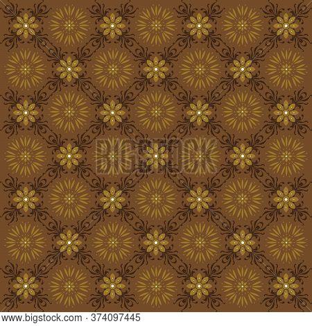 Beautiful Motif On Solo Batik Design With Simple Gold Color