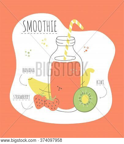 Delicious Fruity Smoothie. Vector Card With A Recipe Of A Tasty Smoothie Made Of Banana, Strawberry,