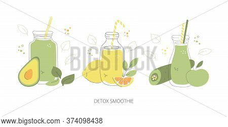 Detox Smoothie. Set Of Glasses With Green Smoothies. Hand Drawn Glasses  With Healthy Drinks. Collec