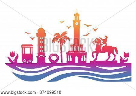 Landmarks Of Izmir, Turkey. Vector Illustration Of Famous Turkish Symbols. Travel To Turkey Concept.