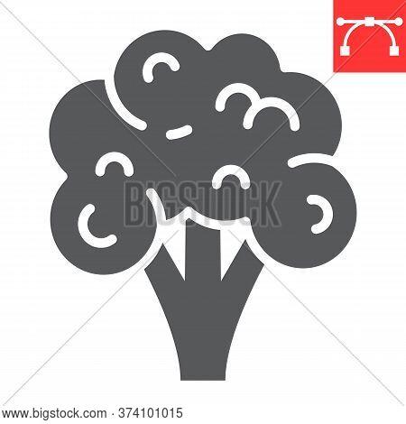 Broccoli Glyph Icon, Food And Keto Diet, Broccoli Sign Vector Graphics, Editable Stroke Solid Icon,