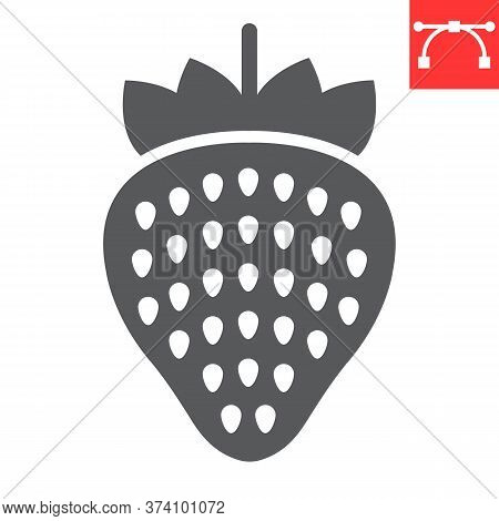 Strawberry Glyph Icon, Food And Keto Diet, Berry Sign Vector Graphics, Editable Stroke Solid Icon, E