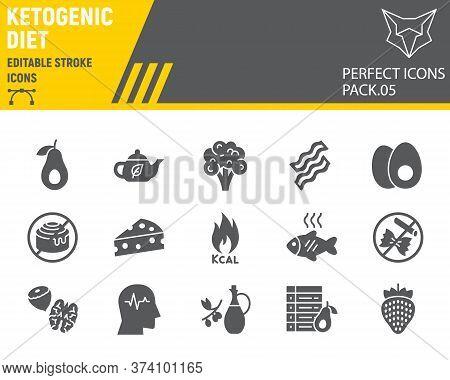 Keto Diet Glyph Icon Set, Ketogenic Symbols Collection, Vector Sketches, Logo Illustrations, Ketogen