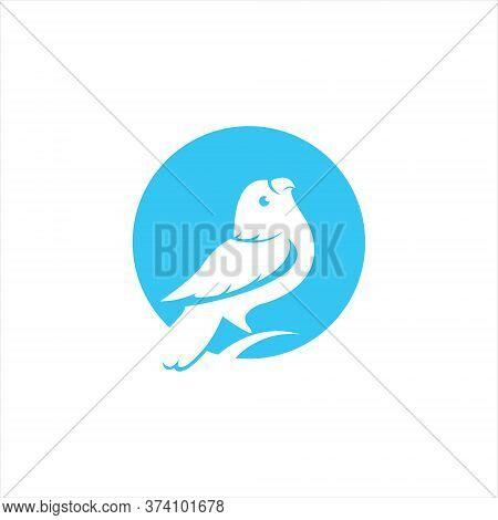 Circle Blue Parakeet Logo Simple Modern Bird Vector For Animal Design Or Bird Lover Icon Idea