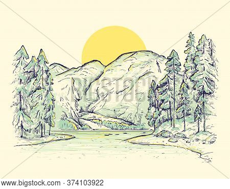 Braies Lake (lago Di Braies). Dolomites, South Tyrol, Italy. Vector Sketch Landscape With Mountains,