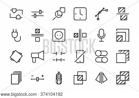 A Simple Set Of Image Editing Related Vector Line Icons. Contains Icons Such As Crop, Copy, Scale, R