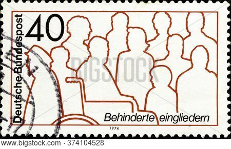 02 10 2020 Divnoe Stavropol Krai Russia The Postage Stamp Germany 1974 Rehabilitation Of The Handica