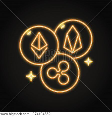 Cryptocurrency Altcoins Neon Icon In Line Style